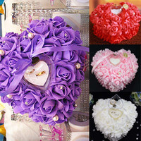 Wholesale Plum Flower Ring - 2015 Flower Ring Pillows Colors Bridal Accessories Wedding Supplies 26*26*13 CM Hand Made Flowers Wedding Accessories Dhyz 01