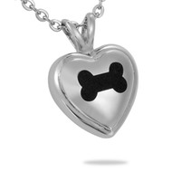 Wholesale Pet Bag Bone - Lily Pet Cremation Jewelry Dog Bone Heart Stainless Steel Pendant Keepsake Memorial Urn Necklace with Gift Bag And Chain