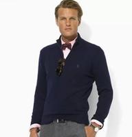 новое поло оптовых-Классический бренд оптом-новое прибытие кардиган V шеи поло свитер, модный бренд вязаный свитер половина молния перемычка мужчины хлопок повседневная пальто