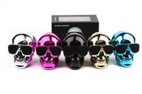 Wholesale Metallic Usb - New Portable Plastic Metallic SKULL Wireless Bluetooth Speaker Sunglass NFC Skull Speaker Mobile Subwoofer Multipurpose Speaker