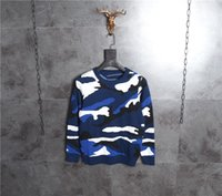 Wholesale Mens Wool Sweater Xxl - NEW 2017 Winter Mens Fashion Sweaters Blue camouflage Pullovers Men Brand Sweater Male Outerwear Knitted Round collar Sweaters M-XXL