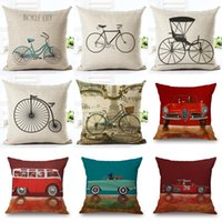 Wholesale vintage white pillowcases resale online - 45cm Fanshion Cotton Linen Fabric Throw Pillowcase Vintage Bike Car Hot Sale Inch New Home Coffee House Sofa Back Decor Cushion Cover
