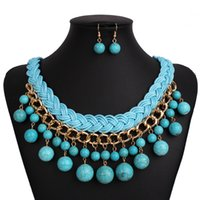 Wholesale China Brand Suits - Luxury brand handmade waterdrop Turquoise Earrings and Necklace Jewelry Set Exaggerated fashion clavicle Chain Necklace   suit