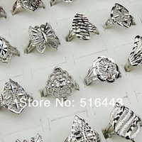 Hot Selling 10pcs 18K Branco Moda Feminina Mens Mens Mix Estilo Vintage Anéis Wholesale Jewlery Lotes A674