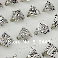 Hot Selling 10pcs 18K White Gold Mode Femmes Mens Mix Style Vintage Anneaux Vente en gros Jewlery Lots A674