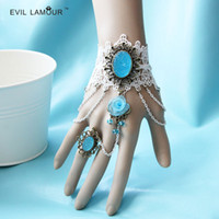 Wholesale Rhinestone Beads Gloves - Distinctive Rhinestone Embellished Lace Bridal Gloves With Ring Chain Free Shipping