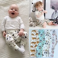 Wholesale Pyjamas Baby - INS Baby Leggings Pants Newborn Autumn Pyjama Trousers Infant Cotton PP Harem Pants Cartoon Animals Printed Kids Clothing Free DHL 413