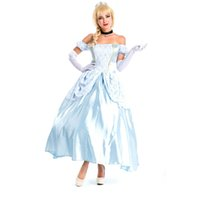 Wholesale Sissi Costume - Women's Sky Blue Deluxe Sissi Princess Dress with Petticoat Halloween Costumes Snow White Cinderella Cosplay Dress Free Size Freeshipping
