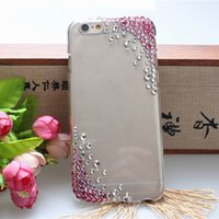 Wholesale Diamante Iphone Covers - Popular Design Cell Phone Cover Case Mobile Phone Case Pink Symmetrical Glass Diamante-studded Phone Cover Shell For iPhone6 F102401*1