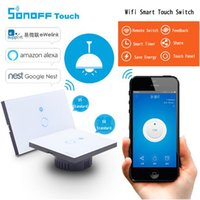 Wholesale Touch Light Switch Timer - Sonoff Wifi Touch Wall Switch Wifi LED Touch Timer Switch Glass Panel Controller Light Switch Remote Control By APP US EU Plug OTH725