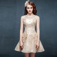 Wholesale Stretch Bandage Mini - 2015 Cool Style Homecoming Dresses A-line Jewel Straps Short Mini Applique Stretch Satin And Tulle Sleeveless Prom Party Cocktail Gowns