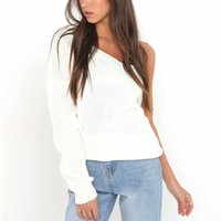 89536f0956c6 New Fashion Stylish Winter Lady Sweater Women Solid Sexy Pullover Off  Shoulder Kintting One Long Sleeves Loose Sweater Free Size