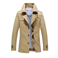 Wholesale Cheap Mens Down Jackets - Fall-manteau homme 2015 Fashion trench coat men jacket men cheap mens trench coats cotton Hot Selling turn-down collar plus size 5XL