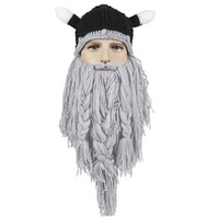 Wholesale Funny Beard Styles - Funny Tassel Big Beard Knitted Caps Mens Fashion Winter Warm Whiskers Pirate Beanie Handmade Big Hats Hip Hop Style K793