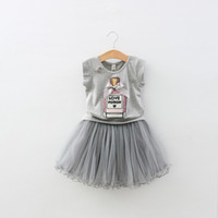Wholesale Shorter Wedding Dresses For Boat - Baby girls dress summer gray print tutu dress lace dress girls clothes for party wedding vintage fashion