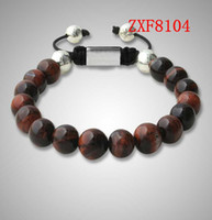 Wholesale Shamballa Beads Alloy - shamballa nature red tiger stone beads hand made fashion POP Couple bracelets nialaya bracelet whosale ZXF8104
