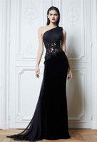 zuhair murad vestido de flor preta venda por atacado-Zuhair Murad preto de um ombro vestidos de noite artesanal flor ver através de apliques a linha de varredura trem baile vestido de festa à noite