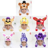 Wholesale Warm Teddy Bear - Fnaf Five Nights At Freddy &#039 ;S 5 Nightmare Mangle Freddy Fazbear Foxy Bonnie Chica Kids Cartoon Hat Warm Winter Cap Plush Toy