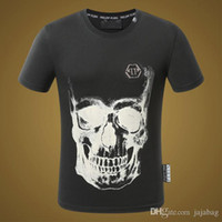 Wholesale Crystal Ss18 - SS18 Arrive Brand Mens Short Fit Slim Casual T-SHIRTS Print SKULLS Rhinestone Desinger Cool MENS Cotton T-shirts P17026-29