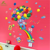 Rainbow Balloon Elephant Wallpaper per bambini Camere Home Decor Art Decalcomanie 3D Divano Camera decorazione casa fai da te Adesivi murali in vinile