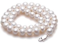 Wholesale Buy 925 Sterling Silver - Best Buy Pearls Jewelry genuine natural 20inches 8-9mm white pearls necklace 925 silver