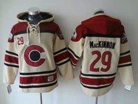 spor hokeyi formaları toptan satış-Üst kalite ! Colorado Çığ Eski Zaman Hokey Formaları # 29 Nathan MacKinnon Hoodie Kazak Spor Tişörtü Kış Ceket
