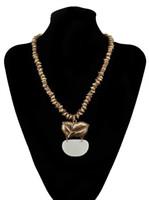 Wholesale leaf shaped beads - Unique Vintage Gold Jewelry Bohemia Beads Leaf Geometric Shape Choker Necklace For Women