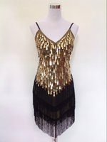 vêtements art déco achat en gros de-Shining V Neck Stage Clothing Costume Robes de danse latines Art déco des années 1920 Gatsby Tassel Fringe Flapper Backless Dress