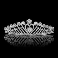 yeni gelin tacı toptan satış-Birdal taçlar Yeni Headbands Saç Bantları Headpieces Gelin Düğün Takılar Aksesuarları armut Gümüş Kristaller gelin saç aksesuarları HT029