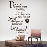 Dance Love Sing Live Word Adhésif mural Autocollants Art Decals Décoration murale Vinyle Décorations de fenêtre DIY Live Quote Vinyl Decal Removable Retail 60 * 40cm