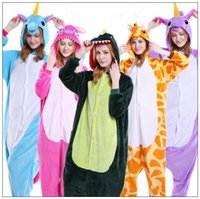 Wholesale Cartoon Stitch - Cartoon Flannel Unicorn Warm Pajamas Kids Pikachu Unicorn One-piece Home Cosplay Nightwear Dinosaur Stitch Pajamas CCA7988 30pcs