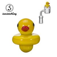 color burbuja al por mayor-Tapa de carburador de burbuja de vidrio de color lindo Estilo de pato amarillo para banger de cuarzo Clava tubos de agua de vidrio, plataformas de aceite de dab