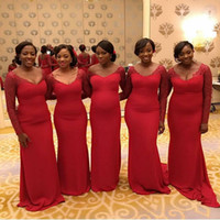 Wholesale Elegant Dressess - 2016 New Red Elegant Long Sleeves Bridesmaid Dresses Lace Poet Evening Gowns Dressess Sweep Train Mermaid Formal Maid Of Honor Gowns
