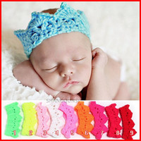 Wholesale Hats Props Newborn - 2015 infant Crocheted Hats Toddler Crochet Knit knitted Crochet baby Princess prince Crown Tiara Headband Newborn Photography Prop Baby Cap
