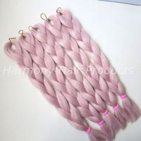Wholesale light pink extensions - Kanekalon Jumbo braiding hair 24inch Folded 80grams Light Pink Single Color Synthetic Xpression Hair Extension T2334