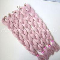 Wholesale kanekalon braiding hair wholesale for sale - Kanekalon Jumbo braiding hair inch Folded grams Light Pink Single Color Synthetic Xpression Hair Extension T2334