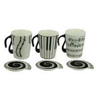 Wholesale Wholesale Music Keyboards - Wholesale-Music Cup Mug Staff Notes Piano Keyboard Ceramic Cup Porcelain Mug Coffee Cup with Cover Creative gift