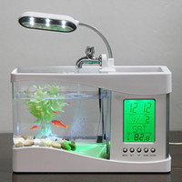 Wholesale Desktop Lamps - Mini USB LCD Desktop Lamp Light Fish Tank Aquarium LED Clock White H4874