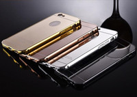 Wholesale Aluminum Bumper Frame Case - Aluminum metal bumper frame case with mirror Back cover for iphone 6 6S Plus 5 S4 S5 S6 edege plus note 4 5