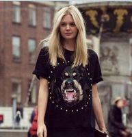 Wholesale Women Shirt Dog - Wholesale-East Knitting FH-206 Brand Dog head Print shirt Women Summer T shirt MEN fashion Tops Short Sleeve t shirt