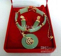Wholesale Necklace Earring Bracelet Set Jade - Wholesale - costume jewelry natural jade Earring Bracelet Pendant Necklace set #051