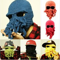 Wholesale Cheapest Wool Yarn - Cheapest Free Shipping Winter Beanies Caps Wool Knitting Cthulhu Ski Mask Octopus Cap Funny Hat Christmas Fashion Adult Hat Tentacle