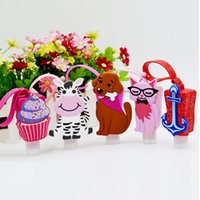 30ml Cute Creative Cartoon Animal Banho Body Works Silicone <b>Portable hand soap</b> Holiciador de mão titular com garrafa vazia