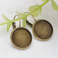 Wholesale Earring Lever Back Set - Wholesale-2015 New Arrival French Lever Back Earrings Blanks Base setting fit 16MM glass cabochons earring bezel findings free shipping