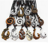 Wholesale maori necklaces - 20pcs Mixed Hawaiian Jewelry Imitation Bone Carved NZ Maori Fish Hook Pendant Necklace Choker Amulet Gift YN542
