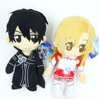 "Wholesale Anime Asuna - Wholesale-9"" SAO Sword Art Online Asuna Kirito Kazuto Stuffed Plush Toys Dolls Pillows New 2pcs set Free Shipping"