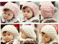 Wholesale toddler pink crochet hat resale online - baby hats Christmas Gift Baby hats Pom pom pink knit hat girls boys beanie winter toddler kids boy girl faux warm crochet cap M years chil