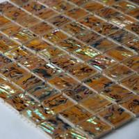 ingrosso piastrelle di mosaico giallo-Mattonelle gialle naturali del foglio della conchiglia dell'aliotide, mattonelle del mosaico delle coperture della madreperla, mattonelle della parete della toilette del bagno del bordo del fondo # MS097