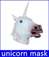 Wholesale Halloween Costume Head Mask - Free Shipping Creepy Unicorn Horse Mask Head Halloween Costume Theater Prop Novelty Latex Rubber new arrive!12%off top sale free shipping