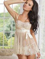 Wholesale Unique White Lingerie - w1025 R70225 Wholesale sexy lingerie hot sale 2015 unique design white lace sleepwear transparent with low decorated lingerie